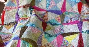 Beautiful Throw or Lap Quilt Foundation Pieced Multi-Color Scrappy Rectanges with Squircle Quilting