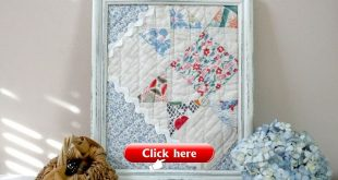 Framed Vintage Quilt Square - wall decor spring easter mothers day blue pink red white shabby chic cottage nursery decor childs room decor