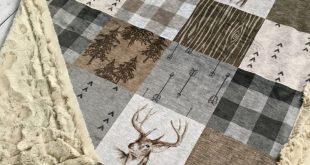 Rustic Buck - Faux Quilt - Designer Minky - Beige