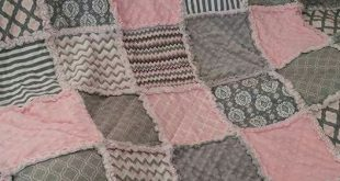 Throw size rag quilt. Pinks and grays. Cotton and minky. By Natasha Beckwith of ...