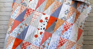 Auburn Baby Quilt - Auburn Toddler Quilt - Orange and Blue Baby Quilt