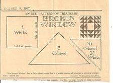 Broken Window Patchwork Original Newspaper Kansas City Star Quilt Pattern Pieced