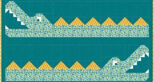 Crocodile Rock Quilt Pattern, baby quilt, twin quilt, PDF, Instant Download, modern patchwork, animal, crocodile, alligator, jungle