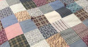 """Details about VINTAGE PATCHWORK SQUARES QUILT 86 X 82"""" PINKS, WHITES, YELLOWS HANDMADE"""