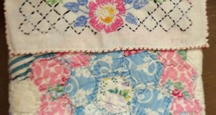 Pillow using vintage embroidered linen and old quilt piece ... seen in Giddings,...