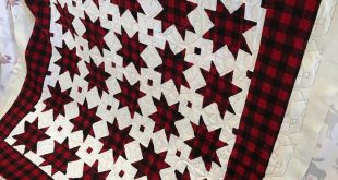 Quilted this fun buffalo check star quilt today by @katvondiesel ❤️❤️❤...