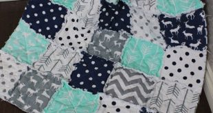 Rag Quilt, Baby Rag Quilt, Crib Blanket, Premier Prints, Mint, Feather And Grey Deer, Arrow Quilt, Gender Neutral,Ready To Ship