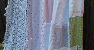 Shabby Chic Shower Curtain made with all Vintage Materials. The bows have a loop...
