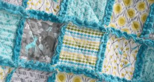 Baby Rag Quilt Grey Yellow Aqua Nursery. Make this look only crochet the blocks ...
