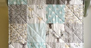 Blue Baby Quilt Woodland, Modern Quilt, Rustic Quilt, Aqua Blue Grey Baby Bedding, Deer Crib Bedding, Blue Baby Blanket - Fawn in Aspen