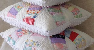 Cutter quilt wedding ring pattern pillows with chenille backings upcycle recycle...