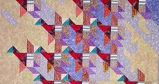 """""""Flight Pattern"""": 59"""" x 69"""" Hand pieced and hand quilted. Cotton fabric and cot..."""