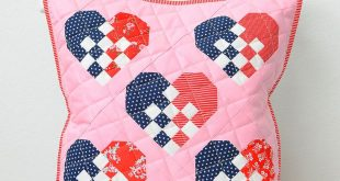 This fun throw pillow is project no. 2 for the Checkered Heart quilt block patte...