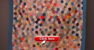 Vintage antique hexagon quilt handmade vintage quilt farmhouse quilt country qui...