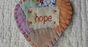 Wordz From the Heart Snippet Ornament - HOPE - Stitched From Recycled Vintage Qu...