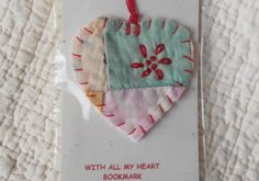 I'M ALL HEART Mini Bookmark - Stitched From Recycled Vintage Quilt Piece