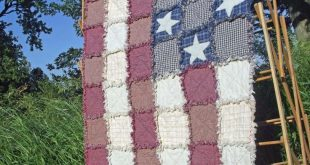 American Flag Rag Quilt, Made to Order, Wall Quilt, Lap Quilt, Rustic Americana, Country, Farmhouse Decor