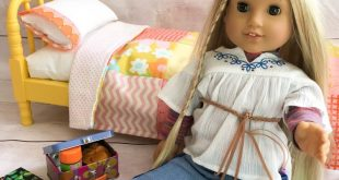 American Girl Doll Quilt -repurposed vintage fabric, Heather Bailey - quilt, pil...