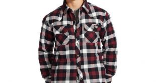 Dickies® - Men's Plaid Flannel Quilted Shirt Jacket Wine XL