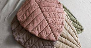 Dunkel grau Blatt Matte Leinen Kinderzimmer Matte Spielmatte Leinen Baby Abdeckung Teppich Boden Decke Baby-Dusche-Geschenk Mädchen Matte gepolstert Leinen Geschenk für Neugeborene