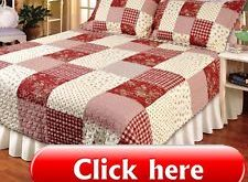 ISABELLA RED  King  QUILT SET : COUNTRY PATCH PLAID ROSE FARMHOUSE VINTAGE  2019...