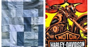 Quilt Throw Recycled Blue Jeans, Motorcycle Fleece Gift for Him Lap Quilt Man Cave Country Blanket Denim Blanket OOAK