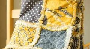Rag Quilt Throw -- Yellow Bird in Mustard and Gray. $108.00, via Etsy. by janell...