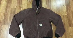 (eBay Sponsored) MENS SMALL - Carhartt J130 Sandstone Flannel Quilted Lined Hood...
