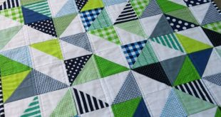 PDF Pattern for Geometric Modern Cot Crib Patchwork Quilt in triangles. Sew your own handmade quilt
