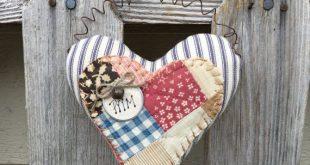 AMERICANA TICKING HEART - Primitive Vintage Quilt Pillow Peg Hanger - Bowl Filler - Country Tuck