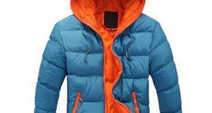 Agai-mccf Men's Leisure Hooded Candy Color Down Jacket (Warm Coat Size 2XL) - Blue + Orange