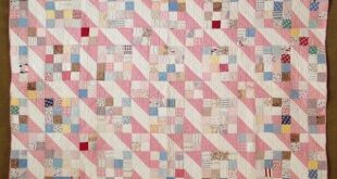 "Beautiful! VINTAGE 30s Jacobs Ladder QUILT 80"" x 70"" Sweet Cottage Home"