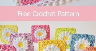 Easy to make daisy granny squares, link to the free crochet pattern. Suitable fo...