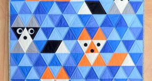 Fox & Friends Baby Quilt Pattern, PDF, Instant Download, Fox, Raccoon, Triangle, KONA Solids, modern patchwork, blue, orange, black, grey