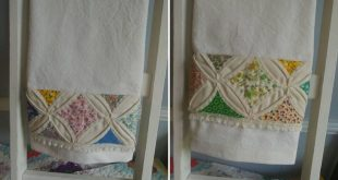 "Hand Made Ivory Cotton Tea Towels w/ Vintage Cathedral Window Quilt Strip, Repurposed Tablecloth & Quilt Piece, 25.5"" x 18""Farmhouse Decor"