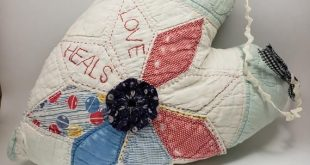 Handmade Hanging Heart Pillow, Repurposed Cutter Quilt Pillow, Vintage Feedsack Fabric Quilt Star Front with YoYo Center, Love Heals Message