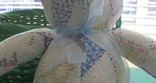 Handmade bear from vintage quilt