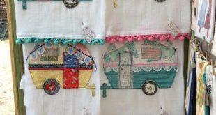 Isa Creative Musings: Vintage inspired Camper Flour Sack tea Towels Tattered qui...