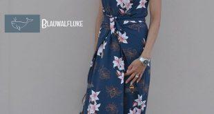Kielo Wrap Dress von Named Clothing aus Hamburger Liebe Lily Jersey in blau. Gen...