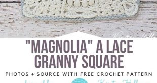 """""""Magnolia"""" Ein Häkelanleitung aus Spitze-Oma-Quadrat"""