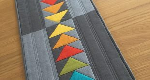 Modern Quilted Table Runner, Rainbow Table Runner, Grey Table Topper, Flying Geese Table Mat, Quilted Wall Hanging