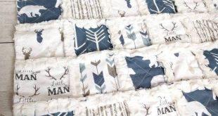 Navy Blue Little Man Rag Quilt - Rustic Crib Quilt - Rustic Nursery Decor