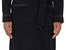 New York Quilted-Trim Wool-Blend Flannel Robe