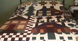 Queen Size Handmade Quilt, Village Sampler, Machine Quilted, Country Decor