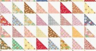 Simply use two charm packs to make this baby or crib size half square triangle q...