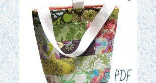 The Insulated Patchwork Lunch Bag PDF Sewing Pattern & Tutorial lunch box quilted Digital For Men Women and Kids Children Solid Colorblocked