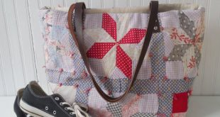 Tote Bag Leather Handles Repurposed Vintage Quilt by SewTrendy