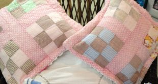 Vintage Chenille quilted Pillow covers repurposed vintage pink white satin by Li...