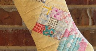 Vintage Cutter Quilt Christmas Stocking Pastel Yellow & Pink