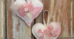 Vintage quilted hearts, pink shabby chic, set of 2, Valentines Day